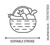 basket with vegetables linear...   Shutterstock .eps vector #755707303