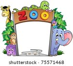 zoo entrance with various... | Shutterstock .eps vector #75571468