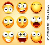 smiley emoticons set. yellow... | Shutterstock .eps vector #755715127