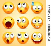 smiley emoticons set. yellow... | Shutterstock .eps vector #755715133