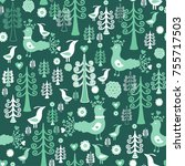 seamless vector pattern with... | Shutterstock .eps vector #755717503