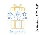 opened gift box and fireworks ... | Shutterstock .eps vector #755717647