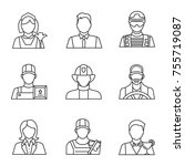 professions linear icons set.... | Shutterstock .eps vector #755719087