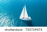 aerial view of yacht sailing... | Shutterstock . vector #755729473