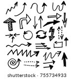 doodle vector arrows. isolated. ... | Shutterstock .eps vector #755734933
