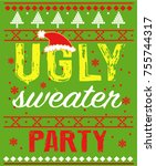 ugly sweater party | Shutterstock .eps vector #755744317