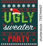 ugly sweater party | Shutterstock .eps vector #755744407