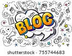 concept of blogging. golden... | Shutterstock .eps vector #755744683