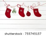 christmas greeting card.... | Shutterstock . vector #755745157