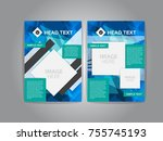 pamphlet and aquare and blue... | Shutterstock .eps vector #755745193