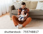 family  parenthood and people... | Shutterstock . vector #755748817