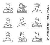 professions linear icons set.... | Shutterstock .eps vector #755749333