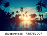 amazing sunrise on a tropical... | Shutterstock . vector #755751007