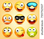 smiley emoticons set. yellow... | Shutterstock .eps vector #755752537