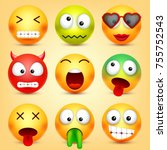 smiley emoticons set. yellow... | Shutterstock .eps vector #755752543