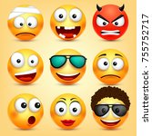 smiley emoticons set. yellow... | Shutterstock .eps vector #755752717