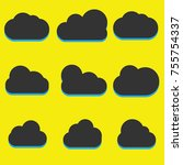 a set of black cloud icons in a ...