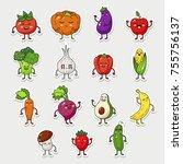 vector fruit and vegetable... | Shutterstock .eps vector #755756137