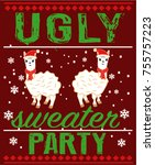 ugly sweater party | Shutterstock .eps vector #755757223