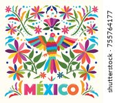 colorful mexican traditional... | Shutterstock .eps vector #755764177