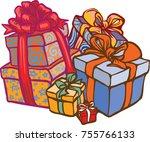 presents birthday celebration | Shutterstock .eps vector #755766133