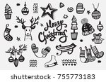 merry christmas collection of... | Shutterstock .eps vector #755773183