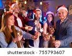 group of friends having fun... | Shutterstock . vector #755793607