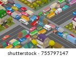 traffic jam. isometric cars and ...   Shutterstock .eps vector #755797147
