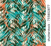 bold abstract jungle print with ... | Shutterstock .eps vector #755802877
