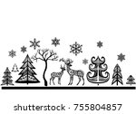 silhouette of deers and trees.... | Shutterstock .eps vector #755804857