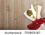 christmas meal table setting   Shutterstock . vector #755805187