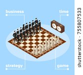 business team  chess board with ... | Shutterstock .eps vector #755807533