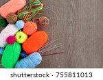yarn for knitting. balls of... | Shutterstock . vector #755811013