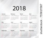 calendar 2019 year in simple... | Shutterstock .eps vector #755819587