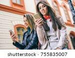 young women standing in a urban ... | Shutterstock . vector #755835007