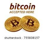 bitcoin accepted sign emblem.... | Shutterstock .eps vector #755838157