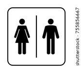 toilet sign. wc  men and women  | Shutterstock .eps vector #755856667