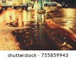 urban city rainy night  light...   Shutterstock . vector #755859943