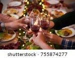group of people toasting for... | Shutterstock . vector #755874277