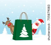 shopping bag with santa claus... | Shutterstock .eps vector #755879083