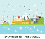 colombia landmarks travel and... | Shutterstock .eps vector #755890537
