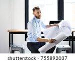 an architect in his studio | Shutterstock . vector #755892037