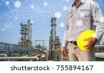 engineer holding safety helmet... | Shutterstock . vector #755894167