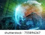 smart city and global network... | Shutterstock . vector #755896267