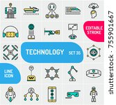 future technology icon set.... | Shutterstock .eps vector #755901667