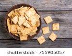homemade crackers in bowl on... | Shutterstock . vector #755905057
