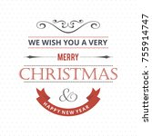 christmas greeting card or... | Shutterstock .eps vector #755914747
