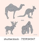 various animals sketching and... | Shutterstock .eps vector #755934547