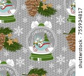 holiday seamless pattern with... | Shutterstock .eps vector #755934817