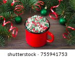 Red Mug With Colorful Stars On...